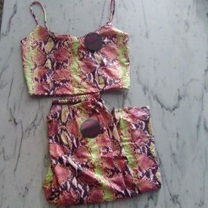 Coral lime snake print two piece matching set
